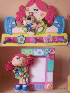 love the photo frame w/clay doll attached to the side. Foam Crafts, Diy And Crafts, Crafts For Kids, Arts And Crafts, Craft Foam, 3d Craft, Tole Painting, Fabric Painting, Do It Yourself Baby