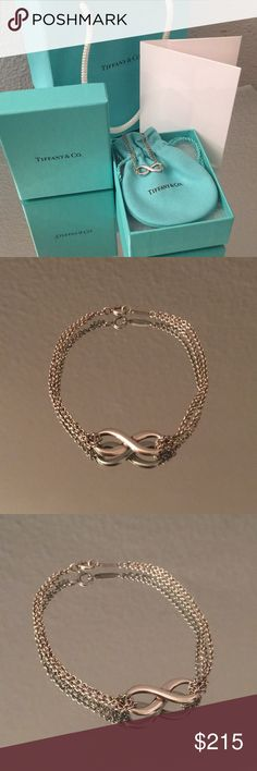 Tiffany Infinity bracelet Barely worn. Hairline scratches. Authentic. Will not come with box and bag or anything else. Just the bracelet. Currently selling in website for $210 plus tax. Can fit larger wrists. Wish I could sell for less but hard to do here because of high Posh fees so not much wiggle room. Tiffany & Co. Jewelry Bracelets