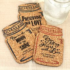 Find Personalized Mason Jar Cork Coaster with quantity discounts here, along with other wedding favors and shower gifts. Wedding Favours Cork, Wedding Coasters, Wedding Favors Cheap, Personalized Mason Jars, Personalized Coasters, Table Setting Inspiration, Cork Coasters, Jar Gifts, Rustic Weddings