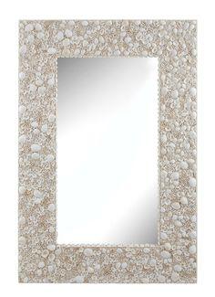 Seaside Large Shell Framed Mirror / Coastal Decorating Idea / Beach Seashell Wall Decor