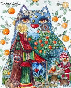 Chat-conte-aquarelle-encre-papier-24x32cm-original-chat-chats-cat-katze-gato