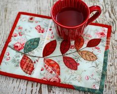 Leaf Applique Mug Rug