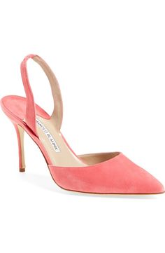 Obsessing over these pointy-toe pumps crafted in lush pink suede.