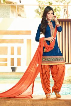 Designer Cotton And Jacquard Patiala Salwar Suit -$34