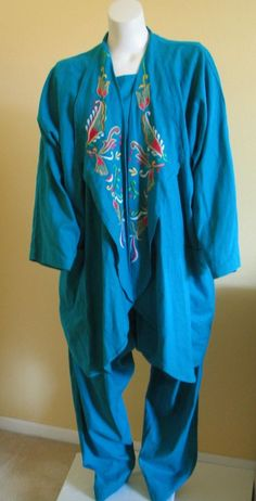 AFRICAN VILLAGE 4pc Pant Jacket Shell Suit Head Dress Blue ONE SIZE FITS MOST #TheAfricanVillage #4pcPantSuit