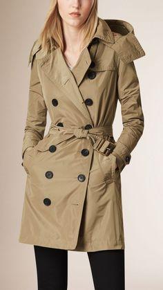 Taffeta Trench Coat with Detachable Hood