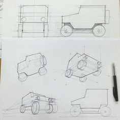 how to draw a car in top view perspective product sketch