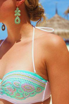 Yachty: Myka sporting gorgeous turquoise earrings by Stella & Dot and the Paisley Bandeau bikini from Victoria's Secret swim! L-O-V-E!!