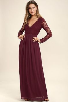Open your eyes to a world of beautiful possibilities in the Awaken My Love Burgundy Long Sleeve Lace Maxi Dress! Crocheted lace elegantly graces the fitted bodice of this stunning dress, with V-neckline and sheer long sleeves. A sexy open back and banded, fitted waist sit above a romantic full length skirt. Hidden back zipper with clasp.