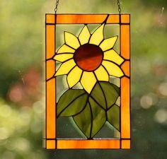 Tiffany Fensterbild Sonnen Blume Glasbild Bunt Glas Sonnenfänger Fensterdeko