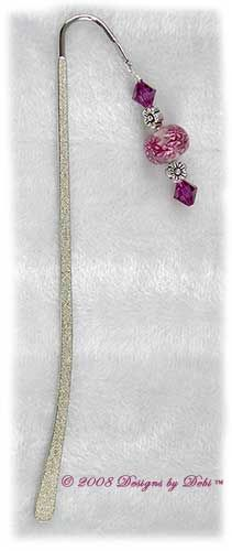 Designs by Debi Handmade Jewelry Fuchsia Daisy Bubbles and Crystal Textured Silver Shepherd's Hook Bookmark