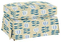 Ottoman by Maine Cottage | Wilton Skirted Ottoman #mainecottage #colorfulfurniture
