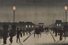 Kobayashi Kiyochika - Night at Nihonbashi, 1881