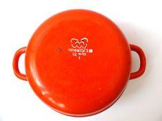 #Vintage red enameled pot in white peas, Iron pot #Soviet vintage kitchen decor, kitchen Utensils red, Round Enamel Pot, Double Handle pot  The perfect cookware for your kitc... #vintage #etsy #soviet #nostalgishop #kitchendecor #enamelware
