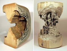"""Book Surgeon"" – Incredible Book Sculptures by Brian Dettmer - http://designyoutrust.com/2014/08/book-surgeon-incredible-book-sculptures-by-brian-dettmer/"