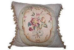 Linen Pillow w/ Antique French Aubusson on OneKingsLane.com