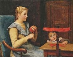 """Winding Yarn"", 1900, by Albert Anker (Swiss, 1836-1910)"
