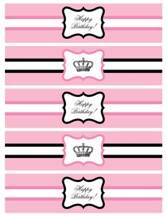 Printable Water Bottle Labels Lovely Over the top Dessert Tables Bollywood Parties and Pretty Printable Water Bottle Labels, Printable Labels, Party Printables, Free Printable, Labels Free, Paris Birthday, Pink Birthday, Barbie Party, Label Templates