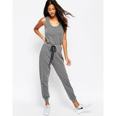 ASOS Casual Tank Jumpsuit with Draw String Waist ($44) ❤ liked on Polyvore featuring jumpsuits, gray marl, cotton jumpsuit, jumpsuits & rompers, asos jumpsuit, loose jumpsuit and gray jumpsuit