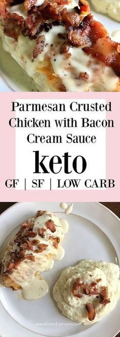 Parmesan Crusted Chicken With Bacon Cream Sauce | Crispy bacon, creamy sauce, and juicy chicken will make you sing keto praises! Gluten free + Sugar free too! Only 1.7 net carbs per serving makes this low carb!