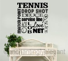 Tennis Vinyl Decal Wall Sticker Words Lettering Teen Room Sports Decor