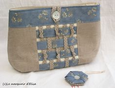 De nouvelles plantations dans mon jardin ? Que nenni, ce sont les charmants non des deux petits ouvrages offerts � Catherine pour son anniversaire le mois dernier... My friend Catherine had her birthday in March. I reckoned a small pouch would be of some... Patchwork Bags, Quilted Bag, Sew Together Bag, Boho Bags, Bag Patterns To Sew, How To Make Handbags, Fabric Bags, Sewing Accessories, Handmade Bags