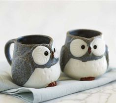 I think evenings this time of year were made for tea in mugs like these. Adorable. :: Owl Mugs by Viva Terra