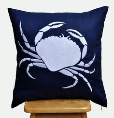 Crab Decorative Pillow Cover, 18 x 18 Throw Pillow Cover,Navy Blue Pillow White Nautical   Embroidery, Beach Pillow, Couch Pillow Cover