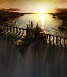 Castle on waterfall