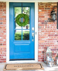 Getting a new front door has made all the difference for our house. It's so much prettier, but beyond that it's far more airtight and also allows more light into the entryway. Win win! (Paint color is Lucerne by @benjaminmoore) #curbappeal