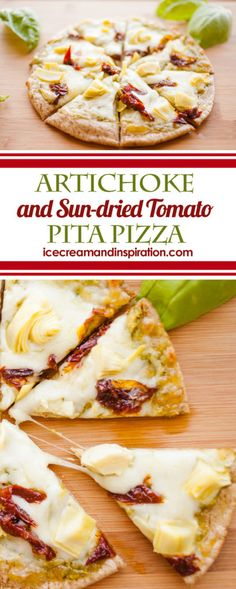 This Artichoke and Sun-dried Tomato Pita Pizza is the answer to your dinner dilemmas! SO fast and SO easy, you'll make these pita pizzas again and again!