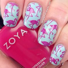 Lace & Lacquers: MoYou Tropical plate, Zoya Dita and China Glaze Kinetic Candy.