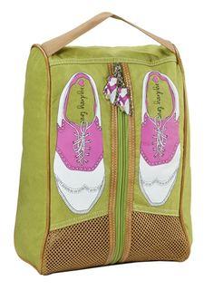 SlamGlam - Sydney Love Green Golf Shoe Bag.  Adorable, hand-carry nylon golf shoe bag with Sydney Love golf shoe print.  Cute!