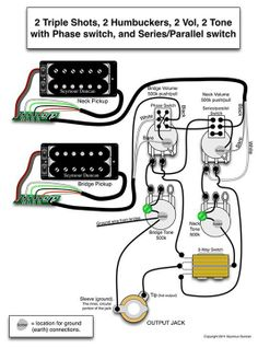 Seymour Duncan P-Rails wiring diagram - 2 P-Rails, 1 Vol, 1 Tone ...
