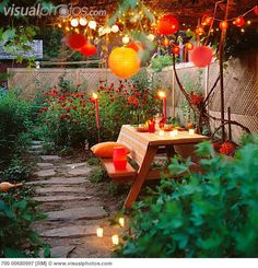 Love these warm hanging lights and the reds in the blooms along the pathway.