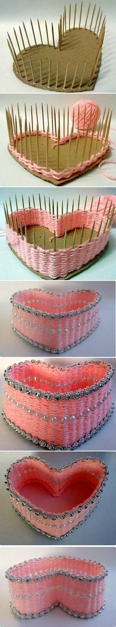 "How to DIY Yarn Woven Heart Shaped Basket #craft ""How to DIY Yarn Woven Heart Shaped Basket.Use this idea to make square and circular baskets as well"","