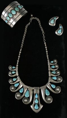 Turquoise and silver necklace, cuff and earrings