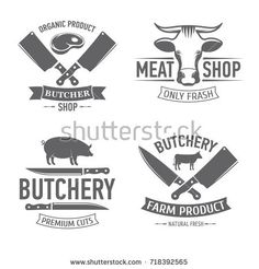 vector illustration set of badges on a theme, meat shop, butchery, on white background, for advertising and menu design / emblems set butchery Meat Butcher, Butcher Shop, Organic Meat, Organic Logo, Menu Design, Logo Design, Carnicerias Ideas, Shop Name Ideas, Protein Shop