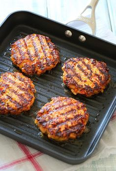 This recipe was made for the grill!! Naked BBQ Salmon Burgers with Sriracha Mayo   Skinnytaste