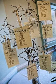 Wedding table plan tree.
