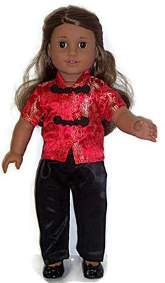 """Red & Black 2 piece Asian Pant Set made for 18"""" American Girl Doll Clothes #DorisDollBoutique #DollClothes"""