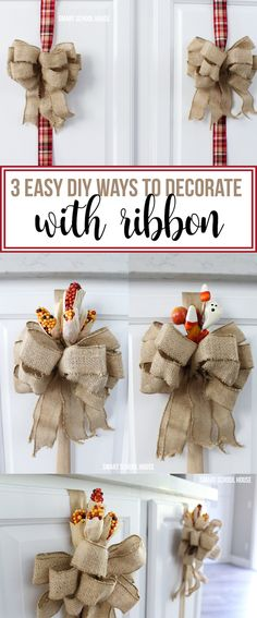 3 Easy ways to decorate with ribbon. Reuse ribbon on cupboards and switch up the patterns throughout the holidays. Inexpensive and ADORABLE!