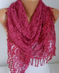 ON+SALE++Cherry++Lace+Scarf+++Shawl+Scarf+Women+Scarves+by+anils,+$17.91