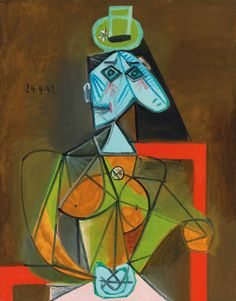 Pablo Picasso Femme dans un fauteuil (Dora Maar), painted in Paris on 24 April 36 x in x 73 cm). Estimate on request. Offered in Impressionist & Modern Art Evening Sale on 20 June 2018 at Christie's in London Pablo Picasso Artwork, Picasso Portraits, Picasso Paintings, Dora Maar, Francoise Gilot, Muse Art, Art Institute Of Chicago, Museum Of Modern Art, Kandinsky