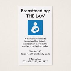 #nurse - #Texas Breastfeeding Law Business Card