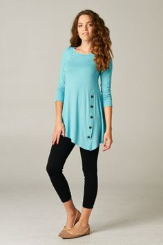 Casual. Soft and Comfy, Relaxed easy Flowing Top with Button Accents.