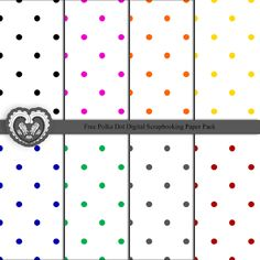 Free Digital Polka Dot Scrapbooking Paper Pack.  #free #scrapbooking