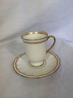 Limoges A. Lanternier & Co Gold & White Very Old Small Teacup and Saucer  #Limoges