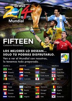 En Fifteen apostamos por el #fútbol del #Mundial2014. Ven a verlo con nosotros!