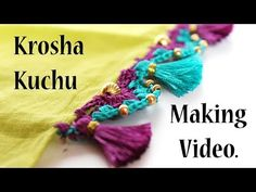 Create4you. Krosha Kuchu Making Video/Saree Kuchu Designs. - YouTube Saree Tassels Designs, Saree Kuchu Designs, Hand Embroidery Dress, Saree Border, Wedding Wear, Crochet Necklace, Beads, Crochet Ideas, Stitches